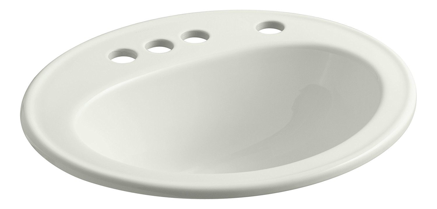 """KOHLER K-2196-4K-NY Pennington Self-Rimming Bathroom Sink with 4"""" Centers, Right-Hand Soap/Lotion Dispenser Hole Drilling and Sealed Overflow, Dune"""