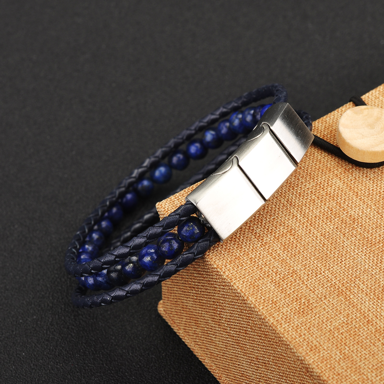 China Supplier Custom Stainless Steel Clasp Charm Stone Bead Black Braided Leather Bracelet Men