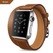 Экстра длинный Браслет из натуральной кожи, двойной тур, кожаный ремешок, ремешок для часов для Apple Watch, серия 4, 3, 2, 1, 38 мм, спортивный, 42 мм для ...(Китай)