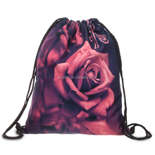 OEM 3D printing rose cheap custom sublimation promotional polyester drawstring bag