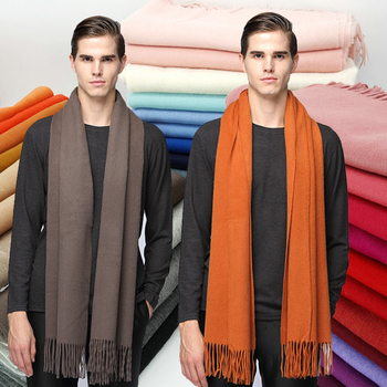 Thick Double Sided Blended Men'S Scarf With Wool And Cashmere Orange And Blue Scarf