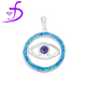 High quality popular blue fire opal pendant evil eye jewelry with cz silver jewelry