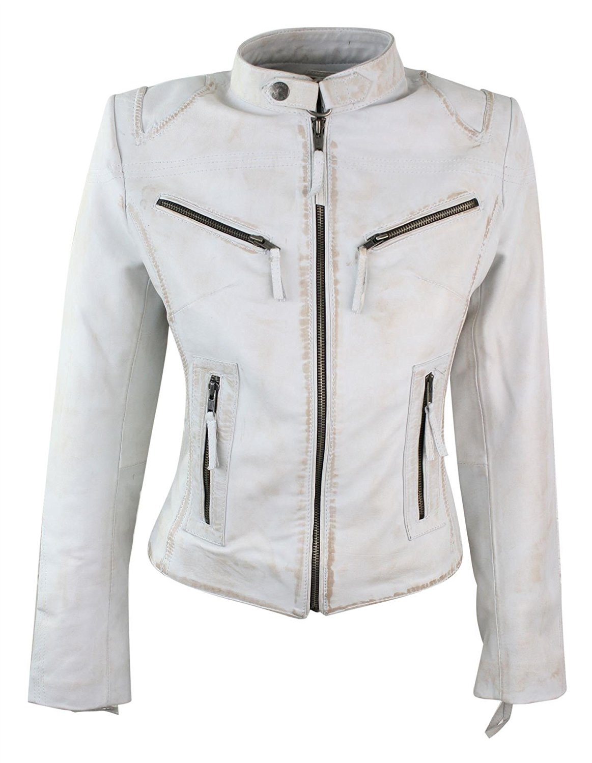 Aviatrix 100% Ladies Real Leather Jacket Fitted Bikers Style Vintage White Rock