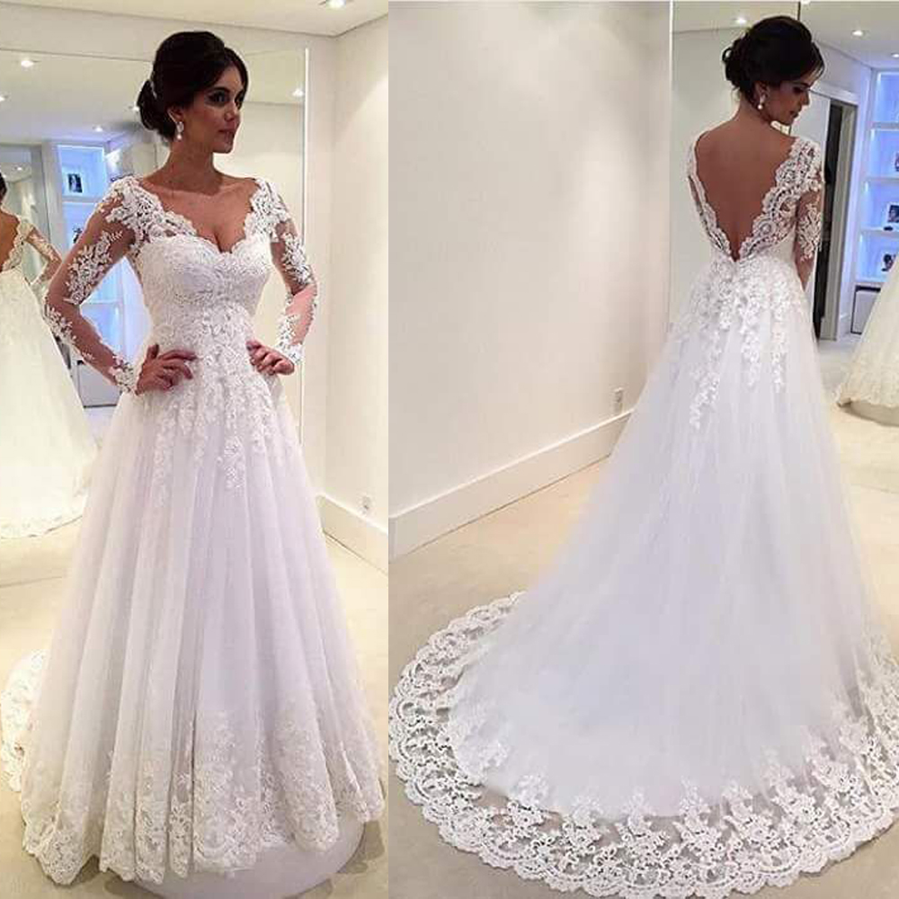 Wedding Gowns Open Back: White Vintage Wedding Gowns Lace Long Sleeve Open Back A