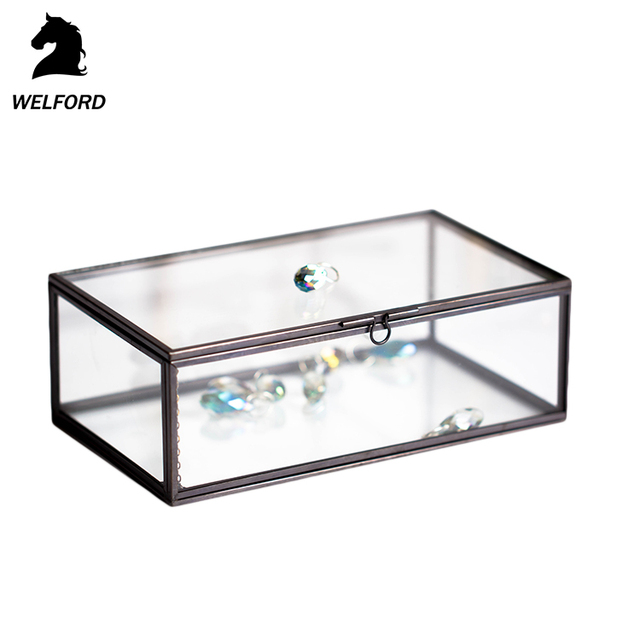 Copper & Glass Transparent Jewellery Box with Mirrored Base
