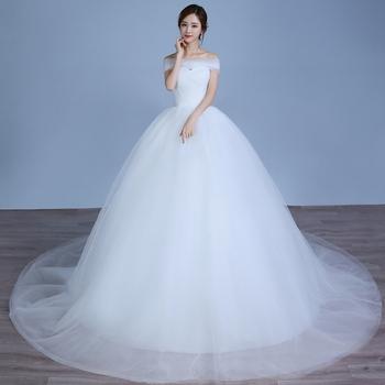 2018 Latest Design 100 Cm Tailing Ball Gown Wedding Dress Bridal