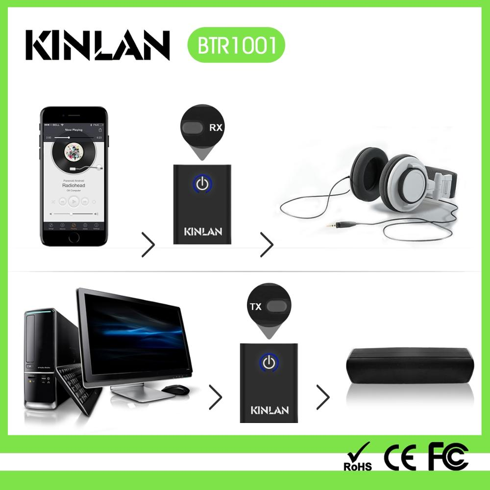 Low latency Bluetooth transmitter receiver 2-in-1 wireless music adapter car AUX connector from Kinlan