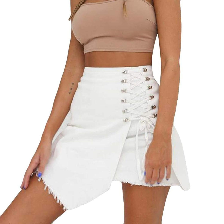 b9f2b78dff Get Quotations · WM & MW Denim Skirts,Women Girls Summer High Waist Solid  Cowboy Skirt Sexy Bandage