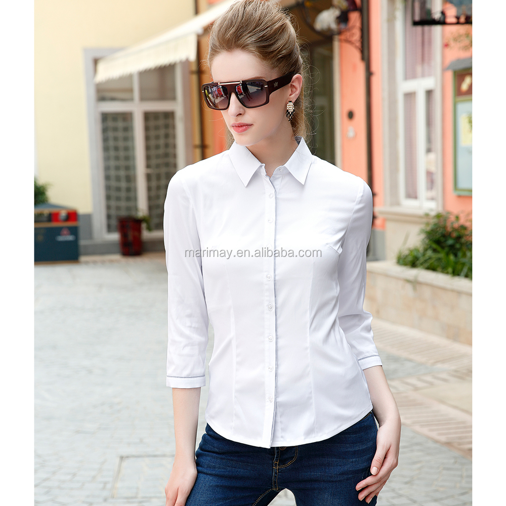 Women Office Uniform Style 34 Sleeve Ladies Office White Work Shirt