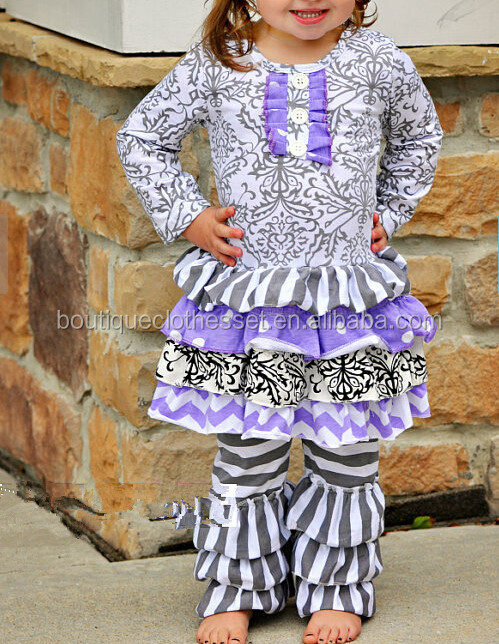 girls boutique clothing floral baby clothes formal stripes winter designer clothing manufacturers Wholesale ruffle pants outfits