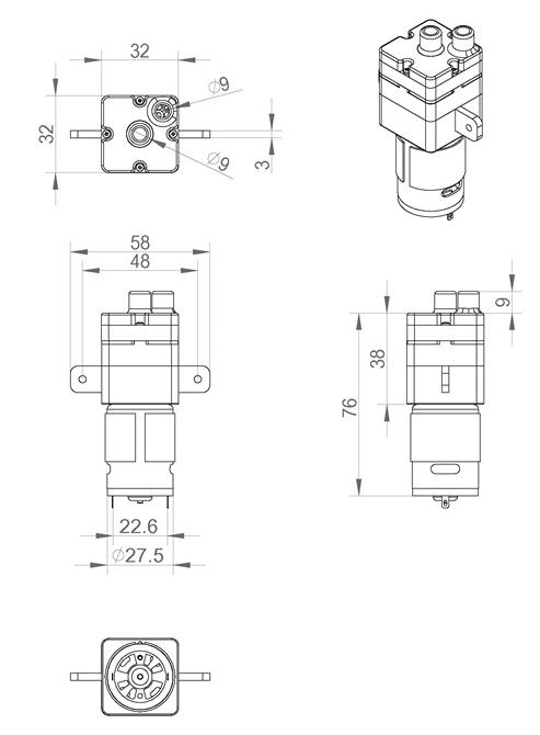 2016 high quality dc 12v 1 8l  min micro diaphragm water
