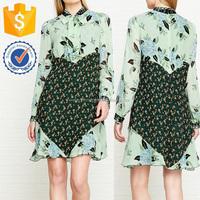 Green Silk Floral Printed Panels Frilled Hemline Mini Dresses For Women Manufacture Wholesale Fashion Women Apparel (TF1191D)