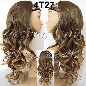 Liaohan® Fashion Half Wig Hair Fall Long Curly Ombre Wig Two Tone Highlights Hair Wig Fall Curly Hair Wigs for Women 4T27