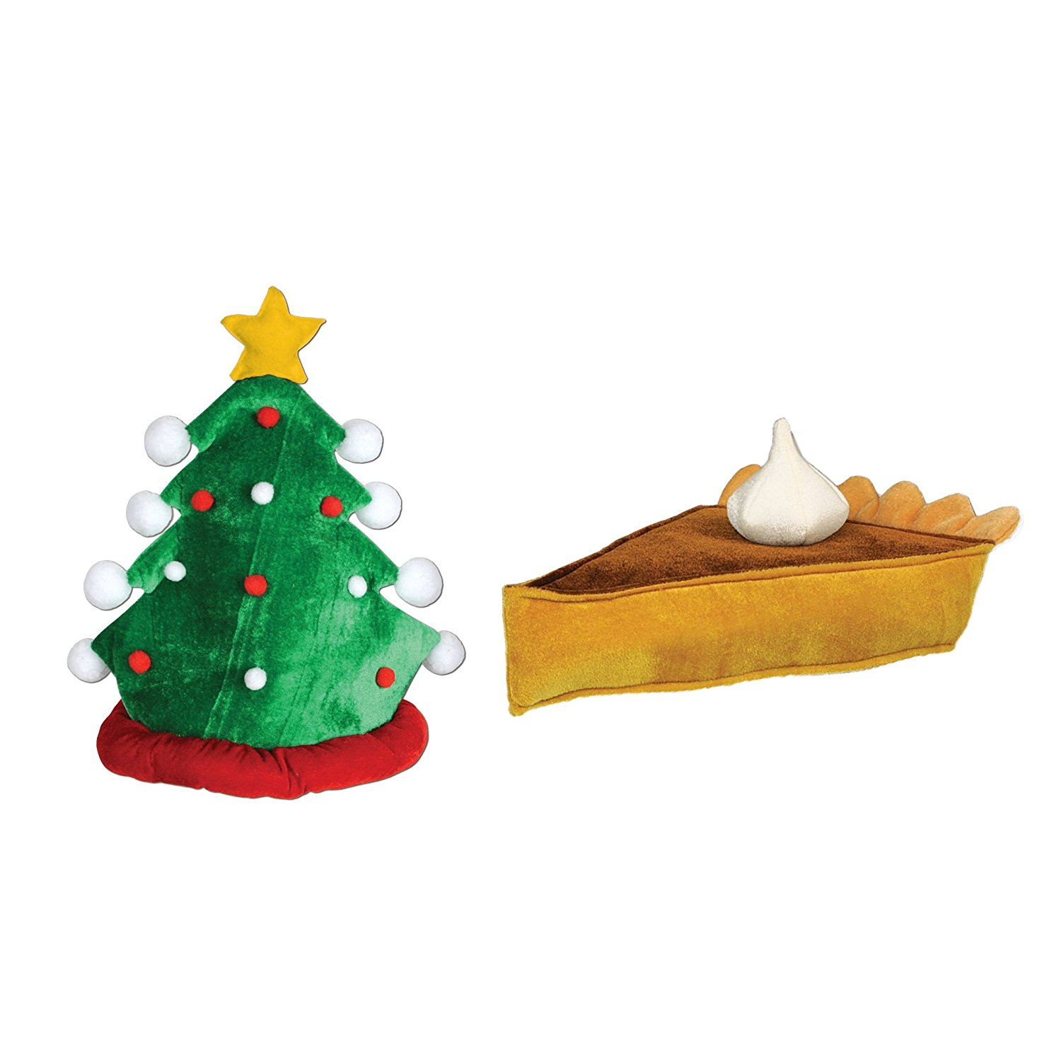 Beistle Plush Christmas Tree Hat with Beistle Plush Pumpkin Pie Hat 49c17f90548d