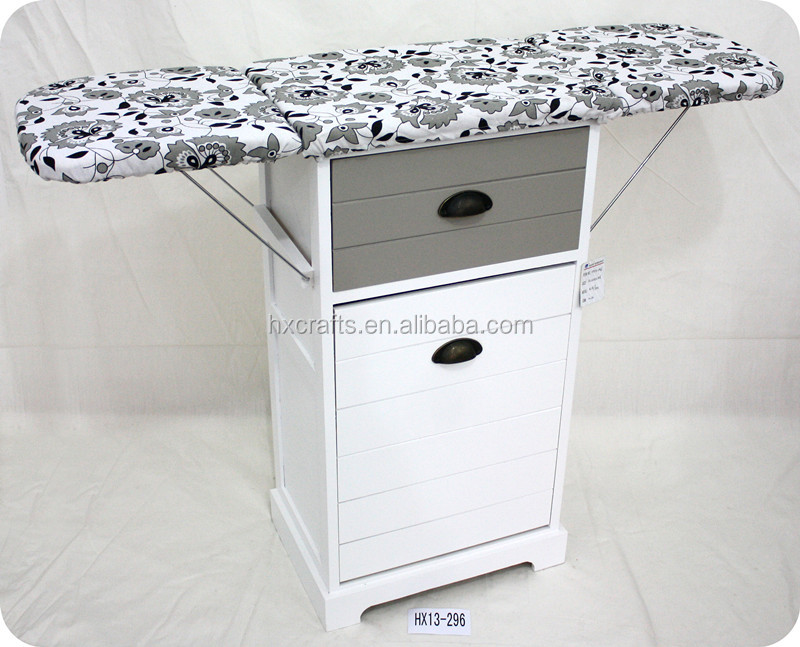 Foldable Ironing Board Solid Wood Cabinet Folding Top Center Rattan Storage Basket Chest Designs For Living Room Wooden Furniture
