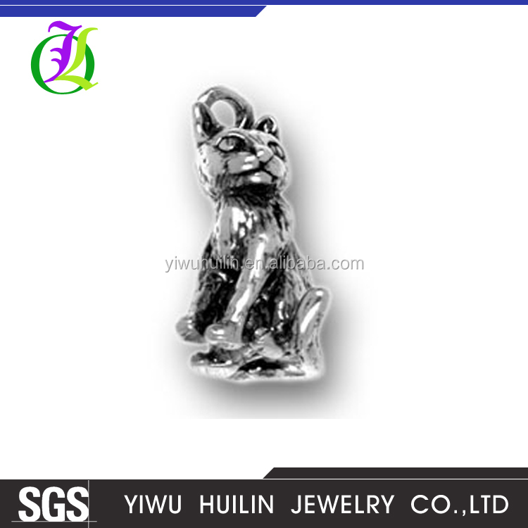 CN184272 Yiwu Huilin Jewelry Simple Design Silver Plated Druzy Cat Fashion Accessories Cat Shaped Pendants