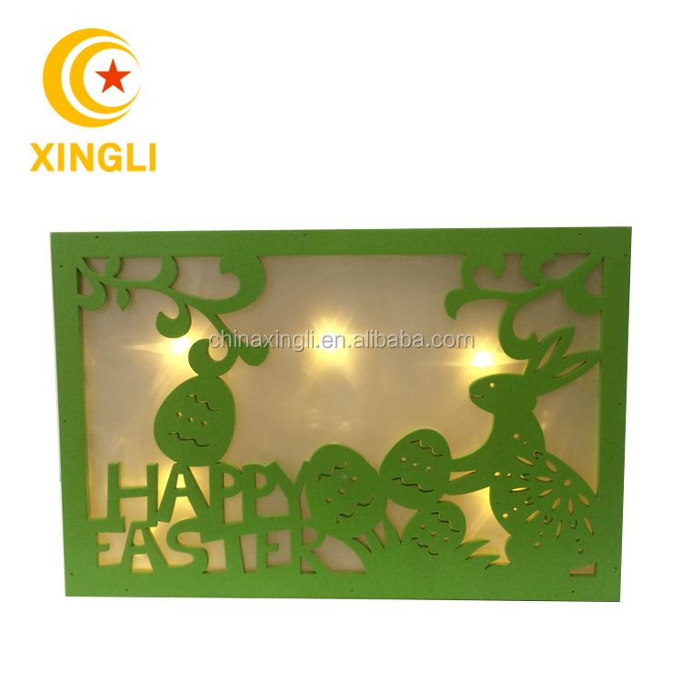 Easter Best Selling Decorations Laser Cut Light Up Wooden Box Bunny