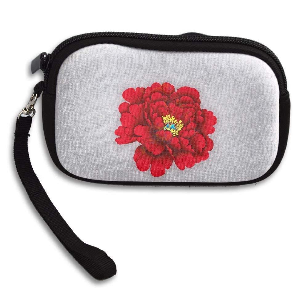Showydma leisure convenience red peony logo white little purse pretty peony purse