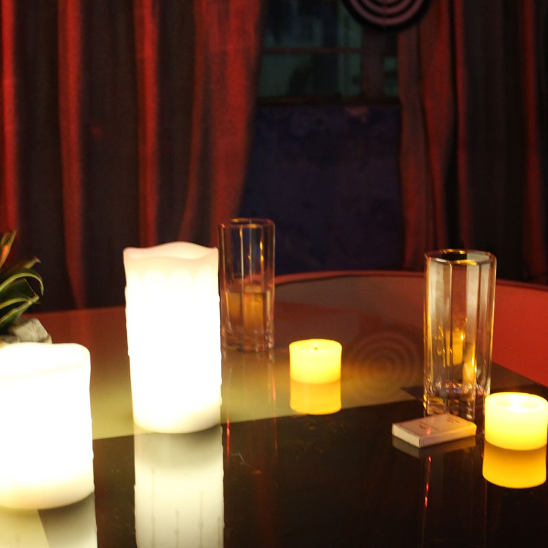 Warm-white flickering drop tear flameless battery operate led wax candle