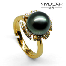 Fashion freshwater pearl ring, black elegant pearl for women
