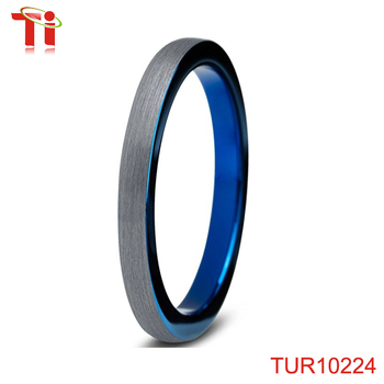 Dongguan Aohua Jewelry TUR10224 Tungsten Wedding Band Ring 2mm for Men Women Comfort Fit Blue Round Domed Brushed