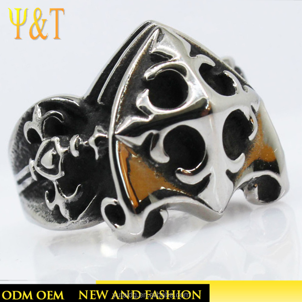 Jingli jewelry fashion 316 stainless steel coiling wrap around black cross finger ring