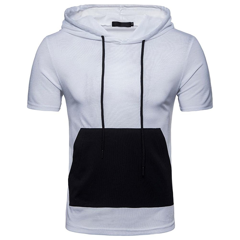 Caopixx Men Shirt, Cheap Clothes for Men Summer Casual Patchwork Hoodie Hooded Short Sleeved T-Shirt Top Blouse 2018