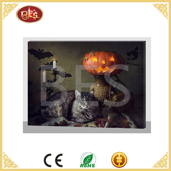 cheap canvas painting led picture and fiber frame