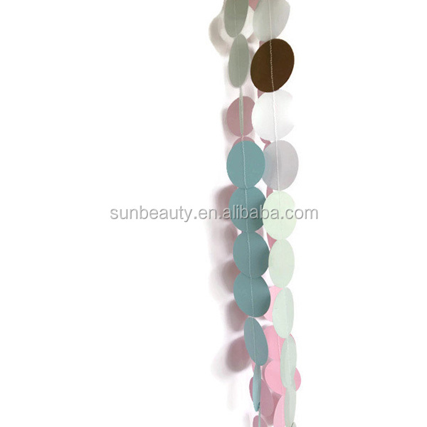 Paper Circle Garland Blue Pink Mix 10ft