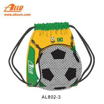 Custom World Cup Soccer Drawstring Sling Bag With Ball Holder Backpack