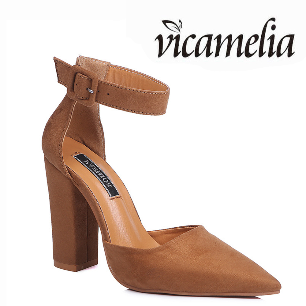 Wholesale Hot Sale Cheap High <strong>Heels</strong> With Buckle Pointed Toe Chunky Block <strong>Heel</strong> Shoes