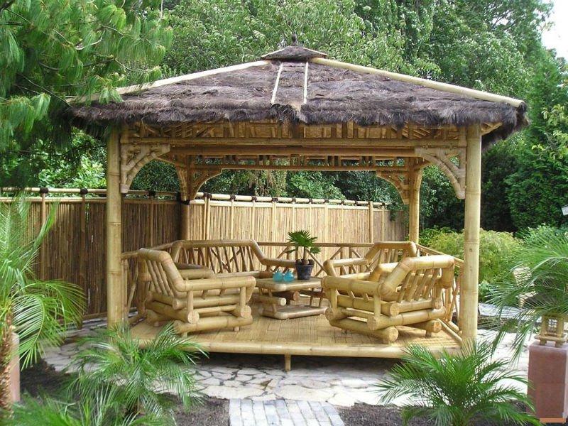 Gazebo bambou autres b timents jardin id de produit 122716560 - Pergola bambou jardin ...