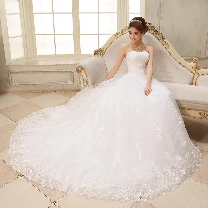 2017 Sweet Princess Straps Wedding Dress Tube Top Plus: Wedding Dress 2015 New Free Shipping Bride Sweet Lace