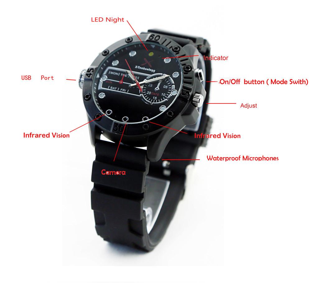 H.264 720p 305 Waterproof Ir Night Vision Spy Watch Camera 16gb ...