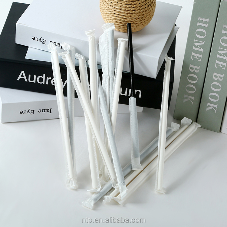 FDA/EU Certificate 197*6mm White Color Paper Wrapped Paper Drinking Straws Individually Package