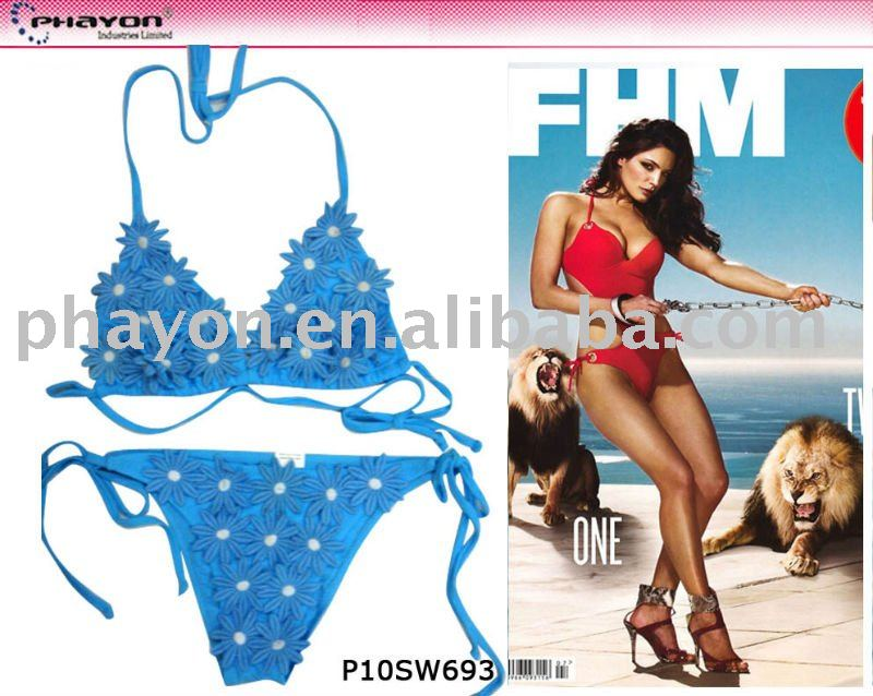 2014 Blue with bead decoration tiny bikini