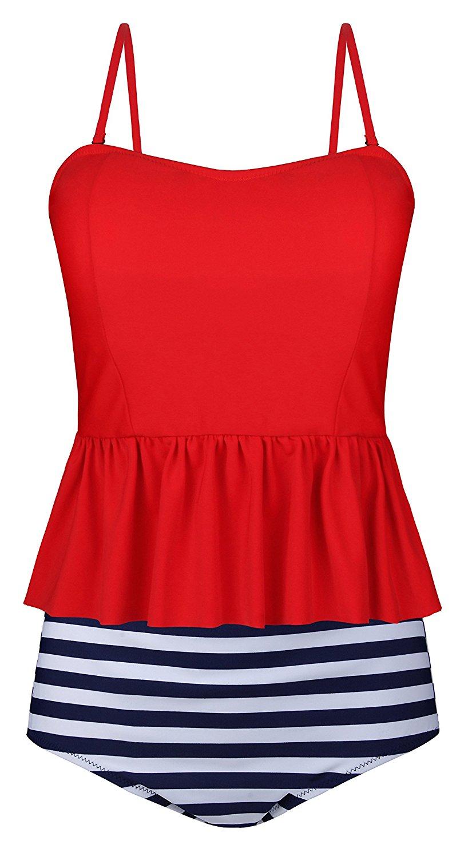77ecb25297 Get Quotations · AnniBlue Women s Falbala Swimsuit Ruffles Top Two Piece  Tankini
