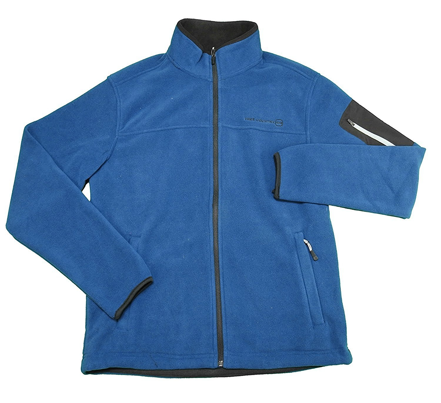 Free Country Mens Size XX-Large Microtech Fleece Jacket, Cold Blue
