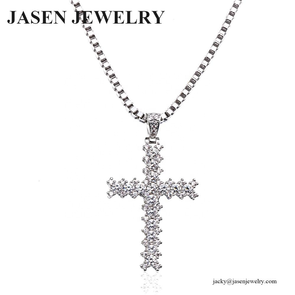 JASEN 보석 diamond 지르코니아 cross charm necklace 펜 던 트