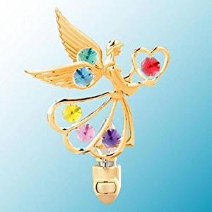24k Gold Angel with Heart Night Light - Multicolored Swarovski Crystal