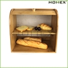 Bamboo large bread box 2 tier bread keeper Homex BSCI/Factory