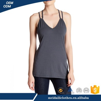Wholesale Women V-neck Back Cross Over Strapas Tank Top
