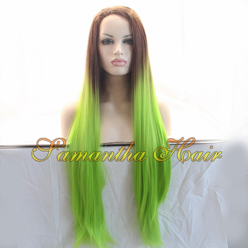Cheap Wigs Straight Green Ombre Synthetic Lace Front Wigs Women's Long Brown /Green Ombre Gluelsss Lace Front Wig Heat Resistant