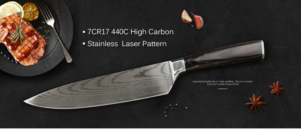 Drop shipping High Carbon 7CR17 440C Pakka Wood Meat Santoku Japanese Damascus 8 inch Stainless Steel Kitchen Knife Chef Knives