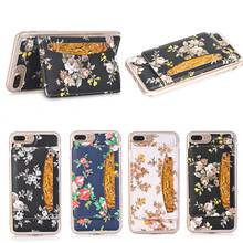 Colorful Flower TPU Flip Case Cover For iPhone 7 Plus With Card Slots Holder