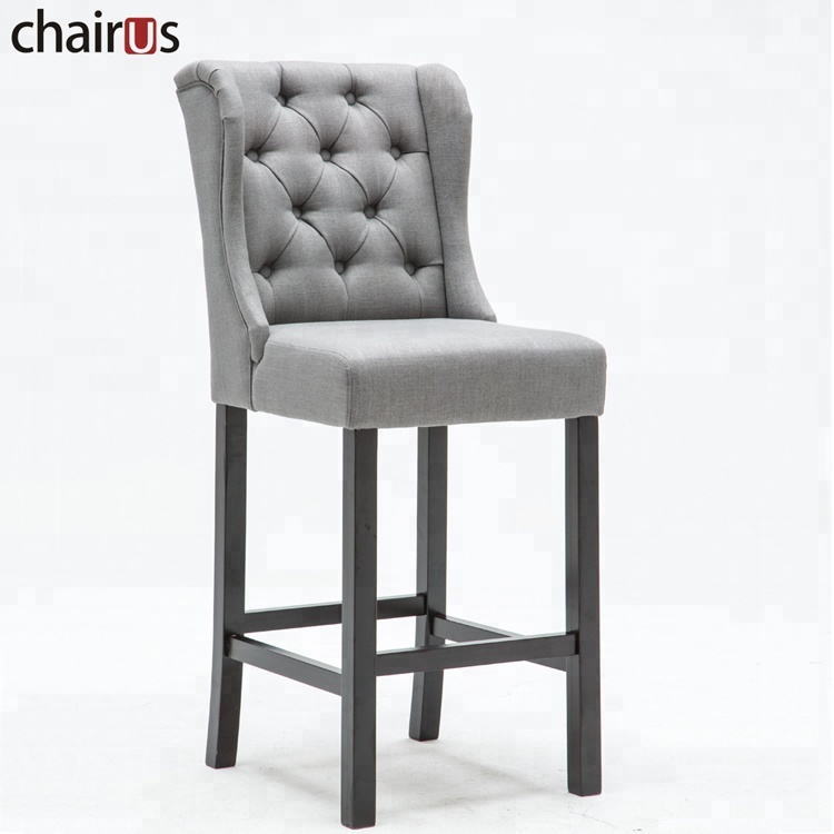 Restaurant Furniture Chair Dining Room Set Grey Linen Look Fabric Tuffed Back with Button Wooden Bar Stool