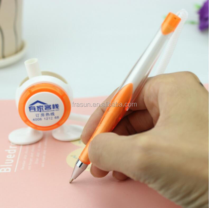 Wholesale plastic promotional desk fixed table ball pen stand set with chain