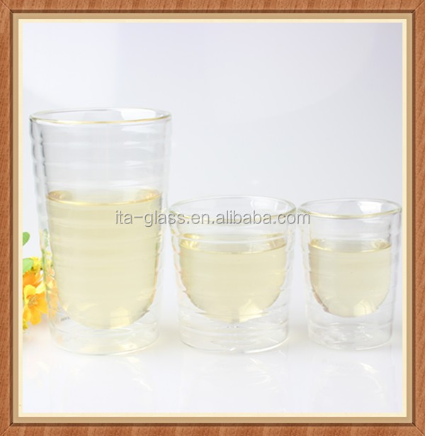 Kinds of eco-friendly hotel home use double wall borosilicate juice mug pyrex tea water tumbler pitcher glass drinking cup set