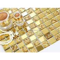 Glitter yellow golden color crystal glass mosaic ceiling mosaic tile