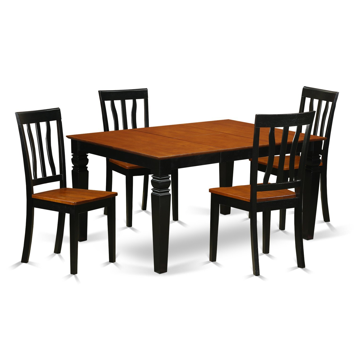 East West Furniture Weston WEAN5-BCH-W 5 Pc Set with a Dining Table and 4 Wood Kitchen Chairs, Black